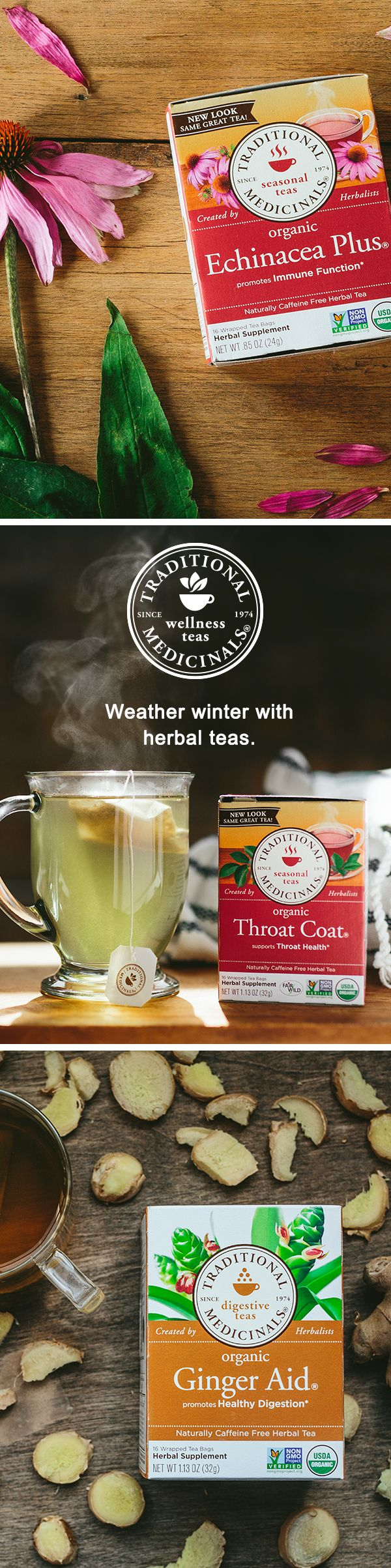 Weather winter with some help from herbal tea. Using centuries-old wisdom, Traditional Medicinals herbalists create tea blends based on the power of plants. Need seasonal support? Steep a cup of soothing Throat Coat made with slippery elm. Looking for digestive support? Enjoy a warm cup of Ginger Aid. Or give your immune system a boost with our tongue-tingling Echinacea Plus.
