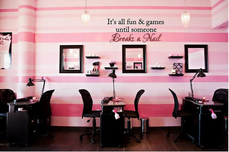 Large Fun & Games until someone Breaks a Nail Vinyl Wall Decal-Beauty Salon Shop Wall Decal Lettering-Wall Art-Wall Decor. $36.00, via Etsy.