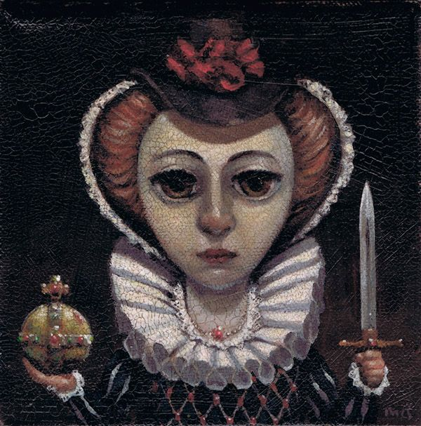 """The Royals by Kevin McSherry, via Behance. The Pretender. Acrylics on canvas. 6"""" x 6"""". Framed"""