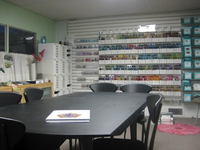 Marcia DeCoster's Bead Studio - I can dream, can't I?  This is an ideal workspace for beading,  scrapbooking, & all the other crafts I love!!  I'd just add a couch and a rocking chair.  -LRE