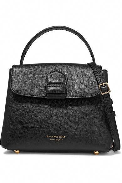 Burberry - Textured-leather And Checked Canvas Shoulder Bag - Black   Burberryhandbags 4a3695c014