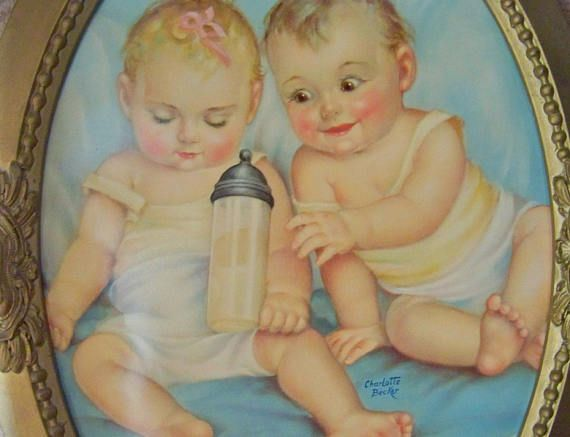 Vintage Twin Babies Lithograph Signed Convex Bubble Glass