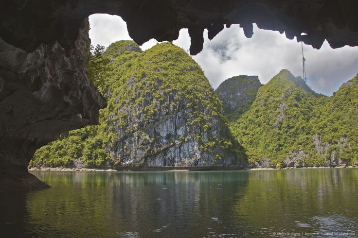 View from cave on karst formation, Archipelago Biosphere Reserve and Bay, Cat Ba National Park, Vietnam