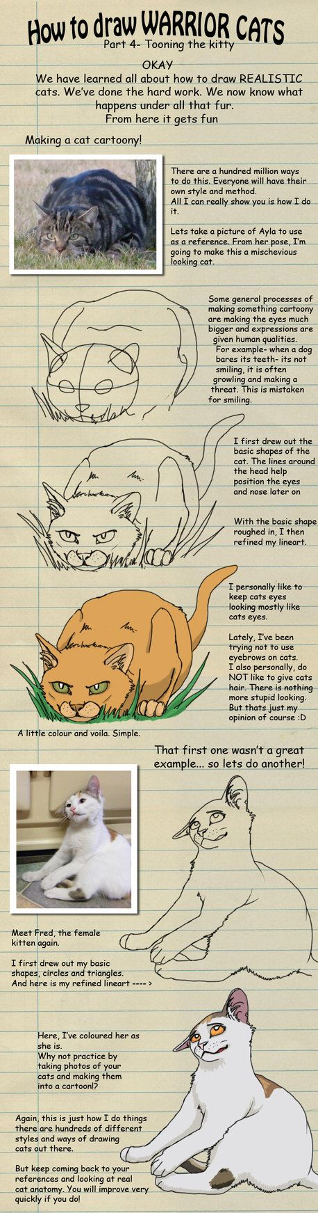 How to draw Warrior cats pt 4 by *heylorlass on deviantART | Just adding this because when i was little, i used to read these all the time | And i guess you can use these to make a manga kitty??..