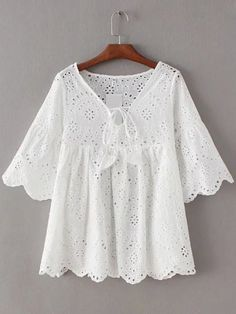 White Bell Sleeve Self Tie Front Scallop Edge Hollow Blouse -SheIn(abaday)