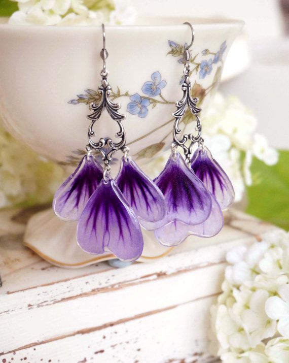 Long violet silver plated earrings with nature mallow Pressed Petal/Pressed…