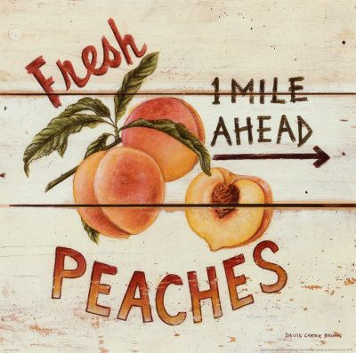 david carter brown print, in style of rustic farmstand or vintage fruit label