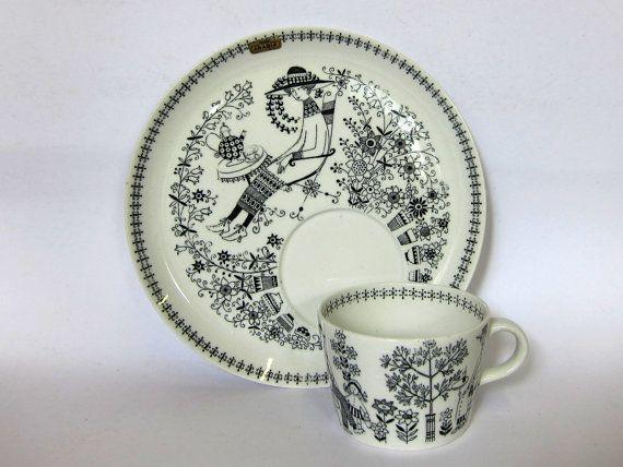 Arabia Emilia breakfast set, Finland, rare mid century tableware, by 365vintage.etsy.com