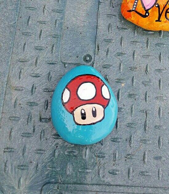 Super Mario Brothers Mushroom painted rock
