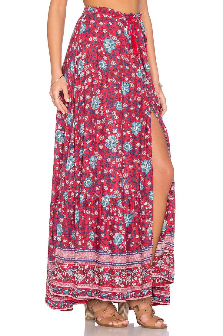 Spell & The Gypsy Collective Folk Town Button Down Skirt en Vino | REVOLVE