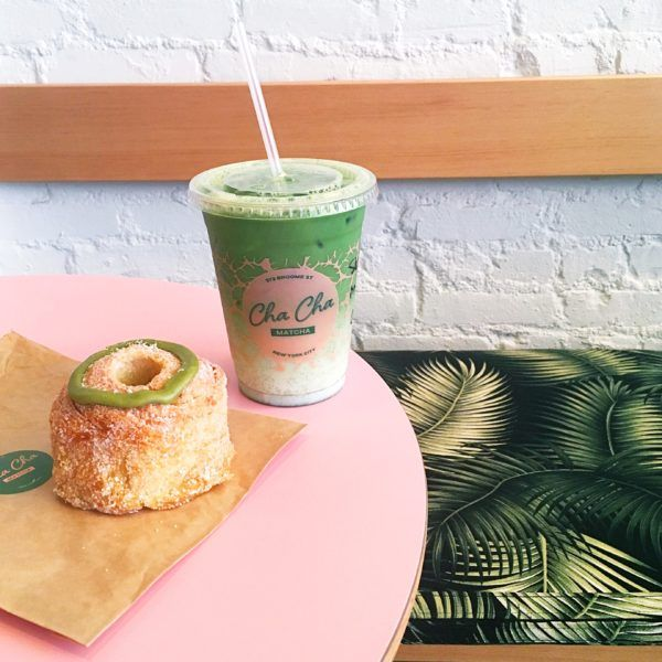 "Cha Cha Matcha This SoHo spot is the ""It"" place to get caffeinated and to recharge. Pink tables, neon signs and even pink frozen yogurt pair up in a perfect tropical twist with the bright green accents and matcha tea."