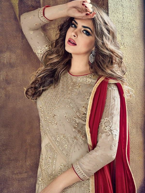 Beige And Red Embroidered Flared Palazzo Suit Hatkay