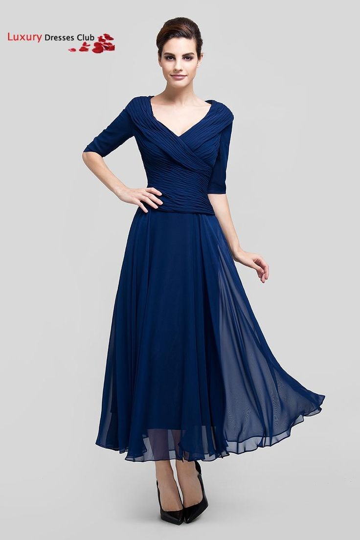 Aliexpress.com : Buy Long Navy Blue Formal Mother of the Bride Dresses with Sleeves 2015 A Line Ankle Length Chiffon Prom Dressees Plus Size  from Reliable dress trouser suppliers on Luxury Dresses Club    Alibaba Group