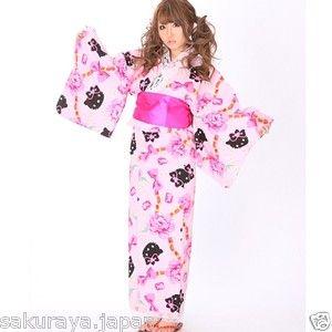 Hello Kitty Japanese Rose Long YUKATA KIMONO OBI Set  Sanrio Japan Gift F/S