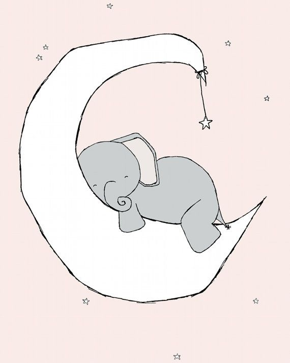 Elephant Moon and Stars Dream Nursery Art Print, Pink and Grey, Kids Wall Decor, Baby Girl