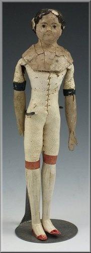 """Lovely 19thC Milliner's Model 6"""" Doll w/ Wooden Limbs: Wooden Dolls, 19Thc Milliner, Wooden Limb, Antique Dolls, Antiques Dolls, Dolls Decay, Milliner Models, Ears Dolls, Millin Models"""