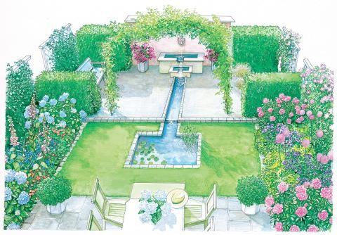 Geometrischer und schnörkelloser Garten
