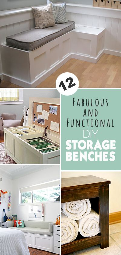 12 Fabulous & Functional DIY Storage Benches • Lots of great projects and tutorials!