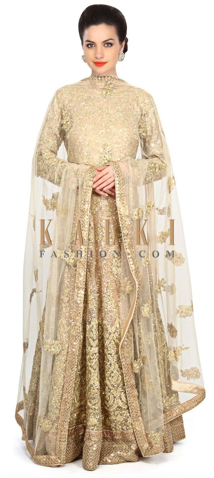 Buy Online from the link below. We ship worldwide (Free Shipping over US$100) Price- $849 Click Anywhere to Tag http://www.kalkifashion.com/beige-anarkali-suit-embellished-in-sequin-embroidery-only-on-kalki.html