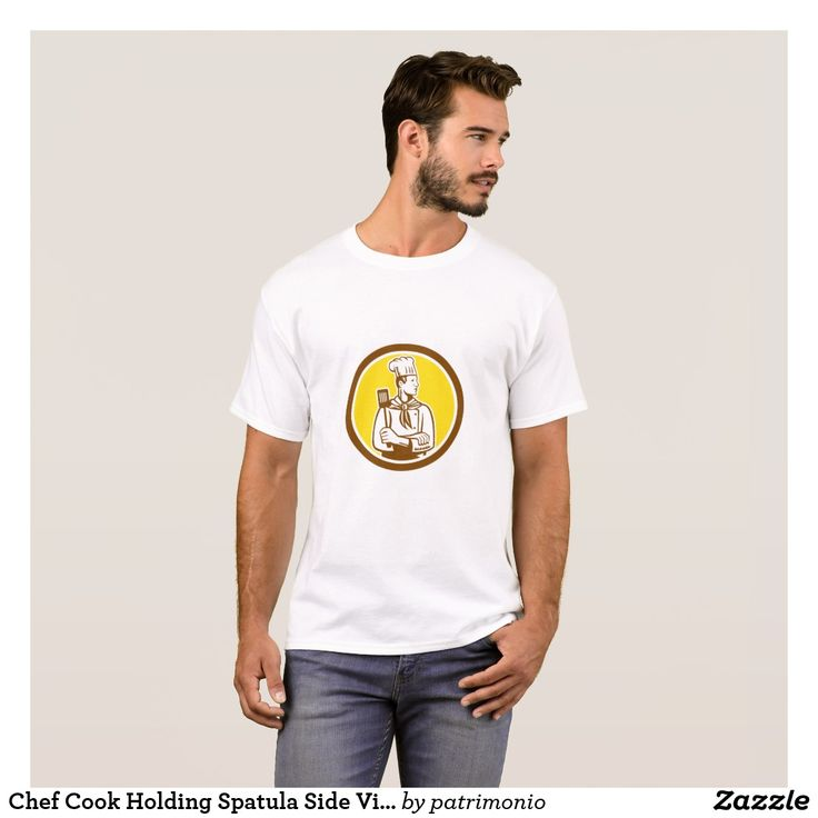Chef Cook Holding Spatula Side View Circle T-Shirt. Customizable men's t-shirt with a cartoon style illustration of a chef with arms crossed holding a spatula looking to the side set inside a circle. #chef #cook #tshirt