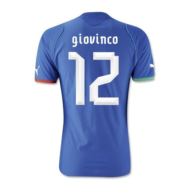 Italy 13/14 Home #12 GIOVINCO Soccer Shirt Soccer Jersey Puma Blue Outlet Online