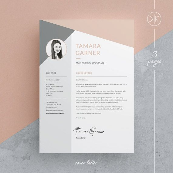Free cv template word 25 pinterest tamara resumecv template word photoshop indesign professional resume design cover letter instant download yelopaper Images
