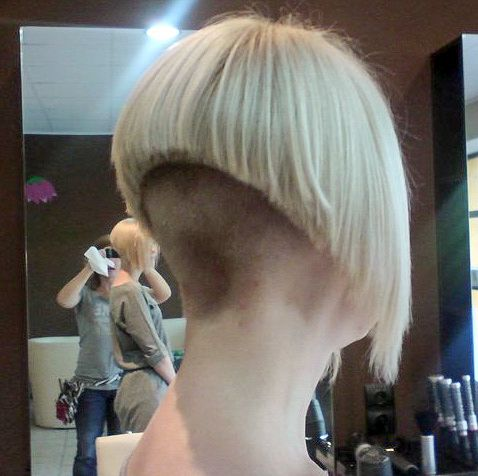 Quite an extreme bob with the back buzzed quite short and ...