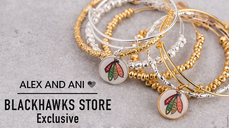 Our new Alex and Ani bracelets are in Blackhawks Stores now! Bracelets are $40 each and are available at our Michigan Avenue, Oakbrook and United Center store locations.   Don't live near one of our stores? Call us at 312-759-0079 to place an order over the phone.
