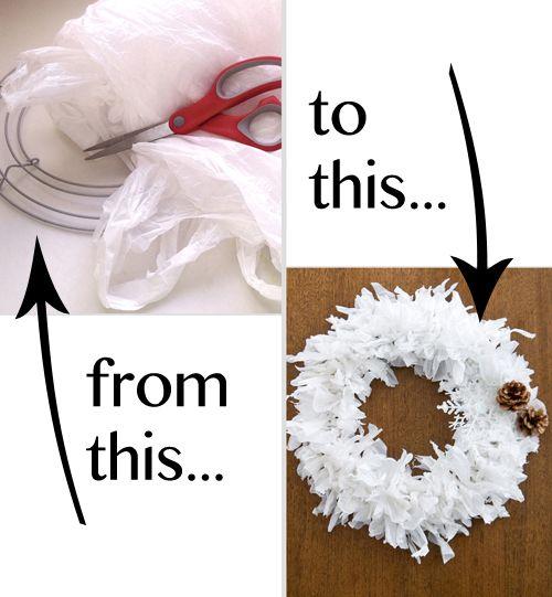 Plastic bag wreath Y si en vez de botar las bolsas, las transformamos y usamos nuestra creatividad?
