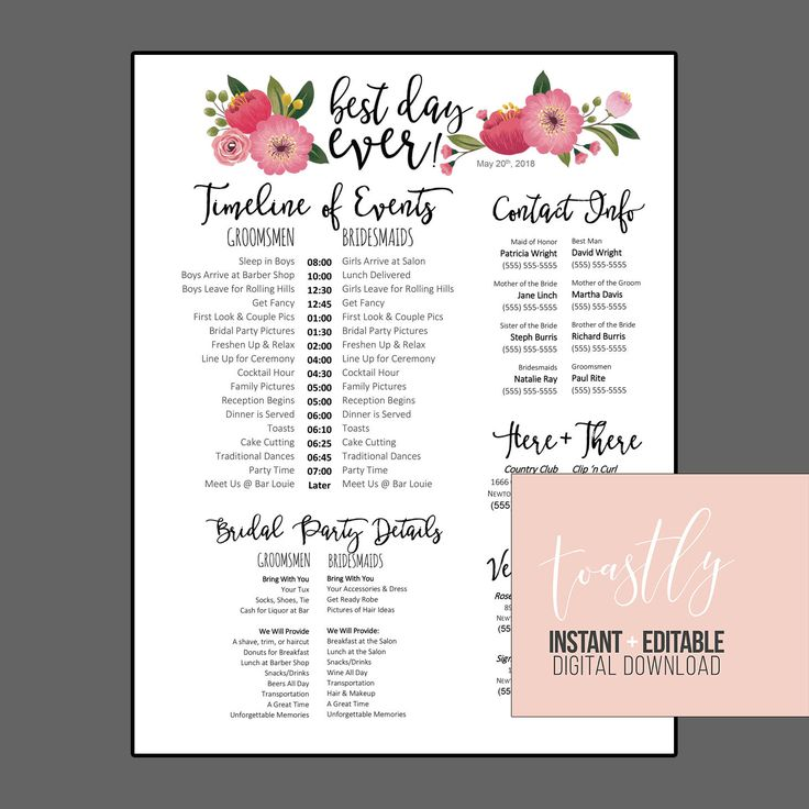Editable WORD Template - Best Day Ever (floral) - Wedding Day Schedule, Checklist, Organizer Document by Toastly on Etsy https://www.etsy.com/listing/561534847/editable-word-template-best-day-ever