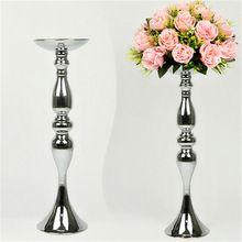 Zilver Metalen Kandelaars 50 cm/20 ''Stand Bloemen Vaas Kandelaar Als Road Lood Kandelaar Centre Stukken Bruiloft decoratie(China (Mainland))