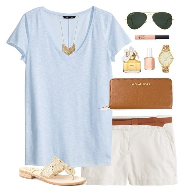 """""""baby blue"""" by classically-preppy ❤ liked on Polyvore featuring J.Crew, Ganni, H&M, Kate Spade, Ray-Ban, Jack Rogers, MICHAEL Michael Kors, NARS Cosmetics, Marc Jacobs and Essie"""