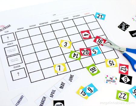 printable blank calendar for kids