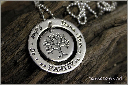 beautiful 'family' pendants: YONDALE DESIGNS Personalised Hand Stamped Silver Jewellery & Giftware