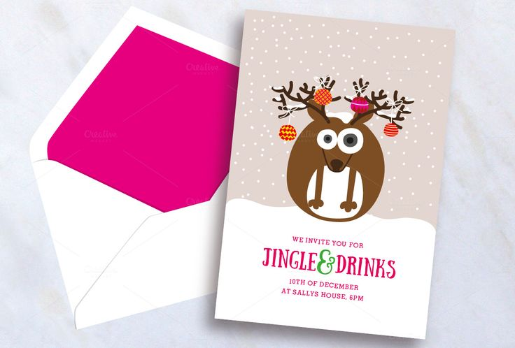 Reindeer Christmas Invite by stockhype on @creativemarket