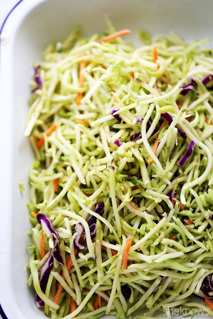 Broccoli Slaw - Light and fresh sesame broccoli slaw with toasted almonds will be your new favorite side dish!