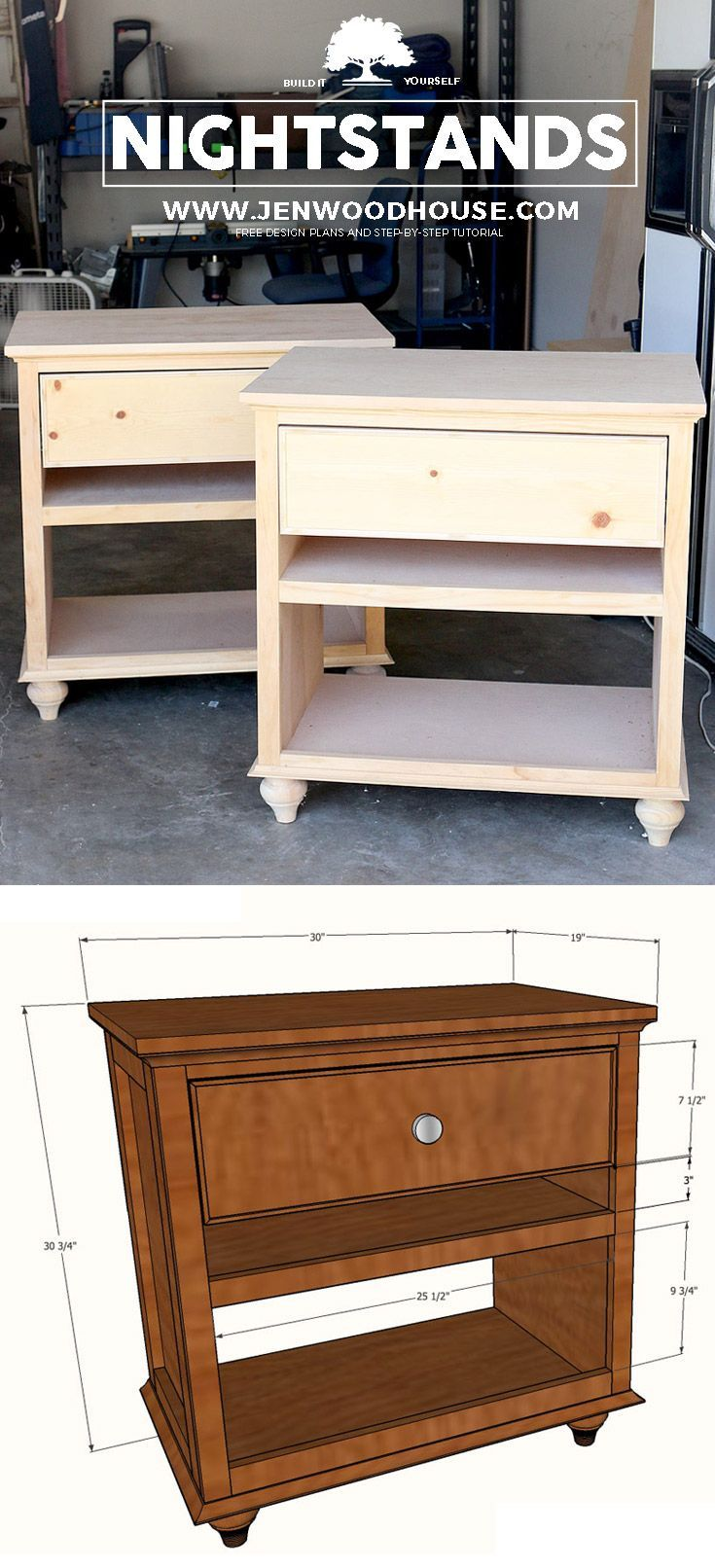 How to build a DIY nightstand - doesn't look too hard to build! Free plans and tutorial #diy #nightstand
