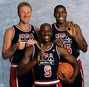 "Michael Jordan, Larry Bird, and Erving ""Magic"" Johnson three of the all time greatest basketball players ever!"