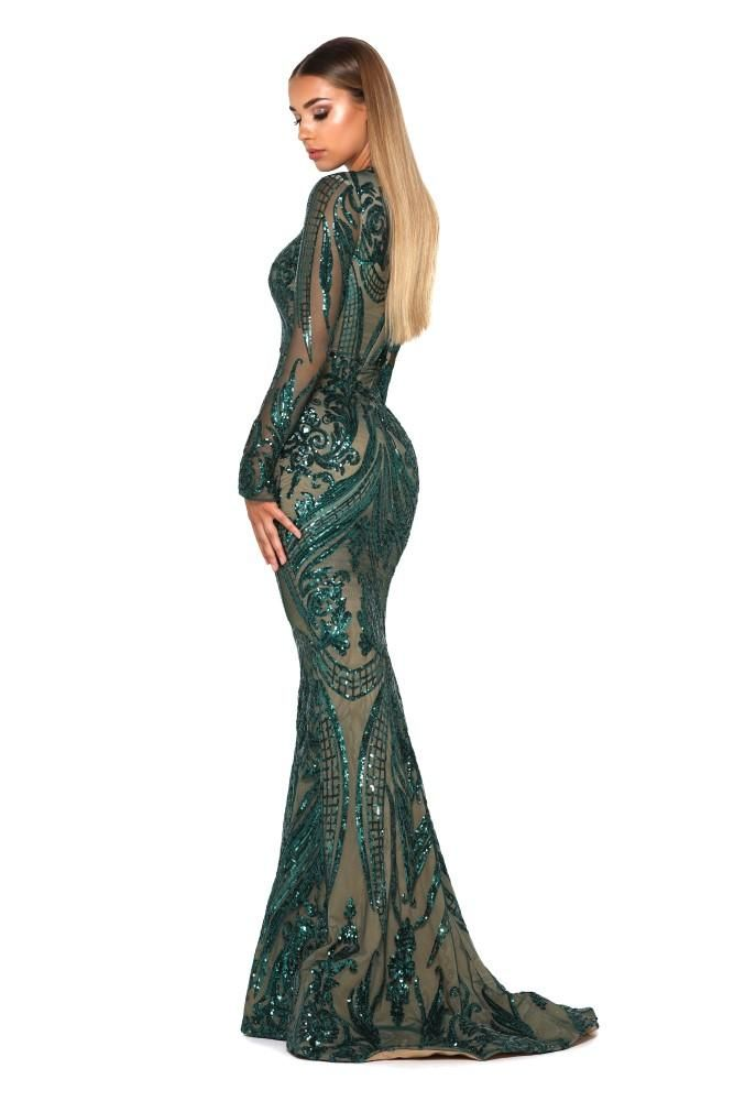 0309fcd40 Portia & Scarlett emerald green sequin long sleeve high neck modest column  bodycon evening gown with removable train from shaide boutique uk online ...