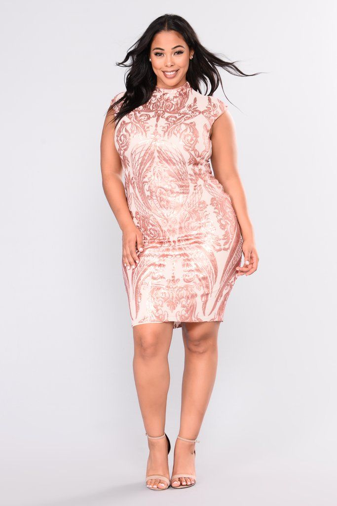 0d3960afc4 First Class Sequin Dress - Rose Gold