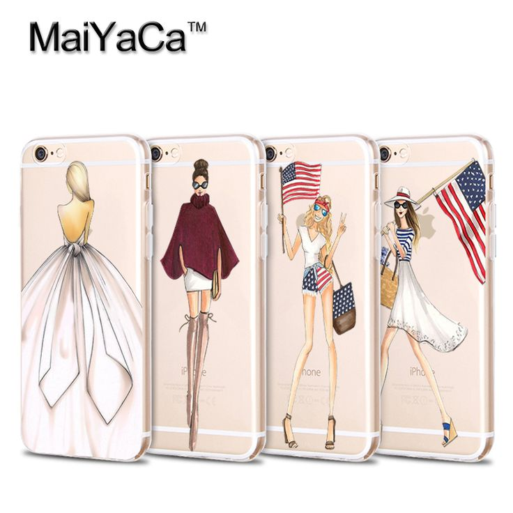 Silicon Transparent Phone Skin Cover For iPhone 5s 6s6plus 7 7 plus case Fashion Style Modern Sexy Girl Painted
