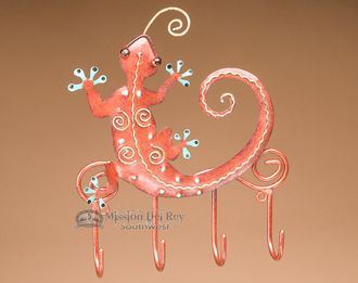 "Southwestern Iron Art 4 Hook Rack 7""""x8"""" -Gecko (ia29)"