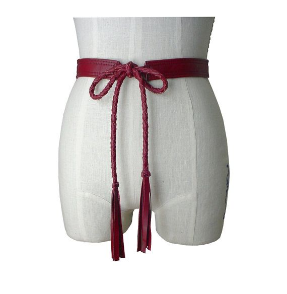 Braided Leather Belt,  Leather Tie Belt  with Tassels Cranberry Red, Soft Leather Belt, size small medium 25 - 31 waist