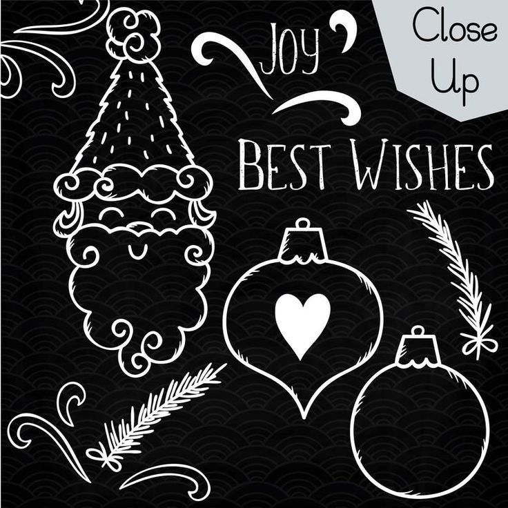 63 White Christmas Elements Clip art Hand Drawn Holiday