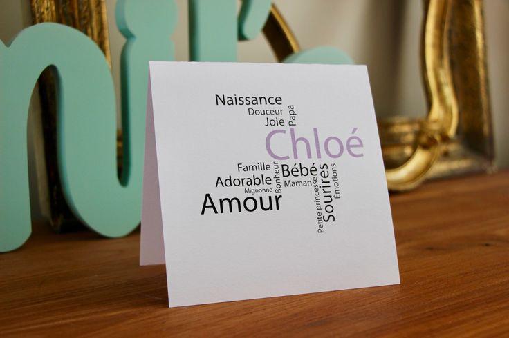 Faire part naissance carte remerciements baptême invitation carrée 100% personnalisable minimaliste texte parme : Faire-part par perles-papiers-ciseaux