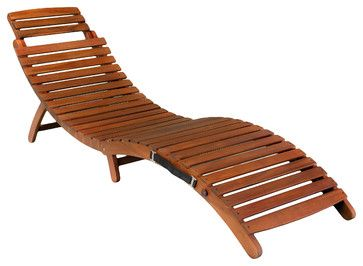 Lisbon Folding Chaise Lounge Chair - contemporary - Outdoor Chaise Lounges - Great Deal Furniture