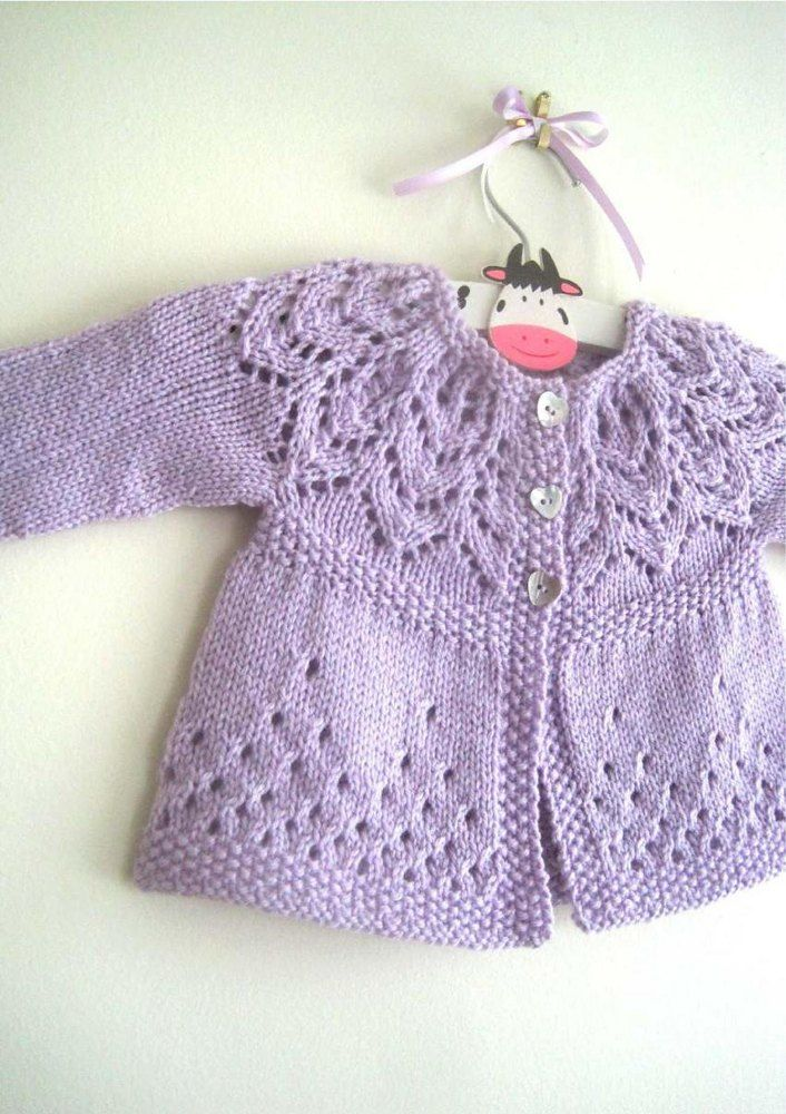 A pretty cardi with a gorgeous lace yoke. Knit in one piece seamlessly from the…