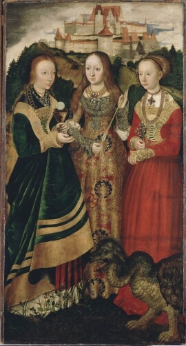 Three ladies of the 16th century, and their mutated pet dog. Cranach the Elder 1506