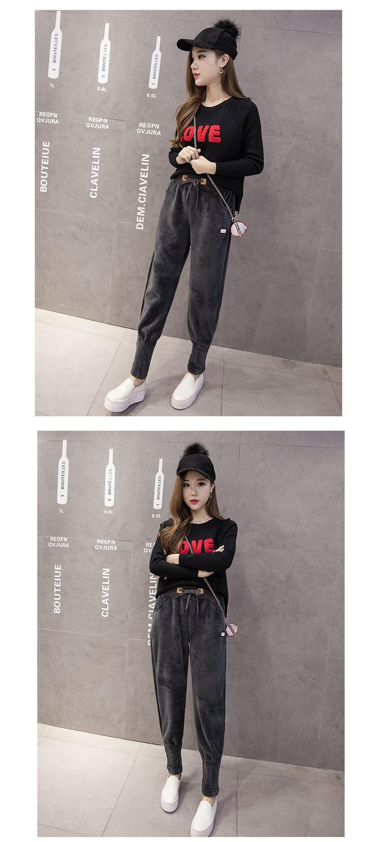 2017 зима новый золотой бархат теплый гарем брюки женщин плюс бархат утолщение тонкие ноги досуг спортивные штаны рубашки - Taobao