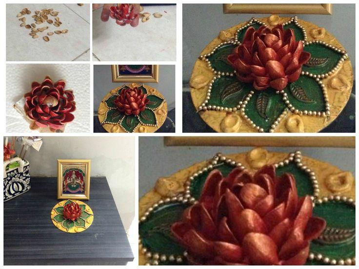 Rangoli from dry fruit shelll Pista shell flower art